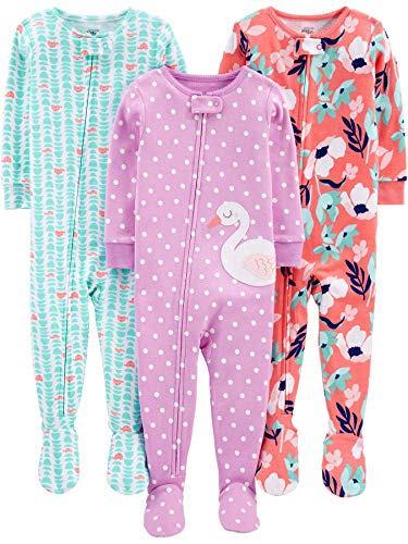 Cotton Sleeper Pajamas - Simple Joys by Carter's Girls' 3-Pack Snug Fit Footed Cotton Pajamas, Floral/Turtle/swan, 18 Months