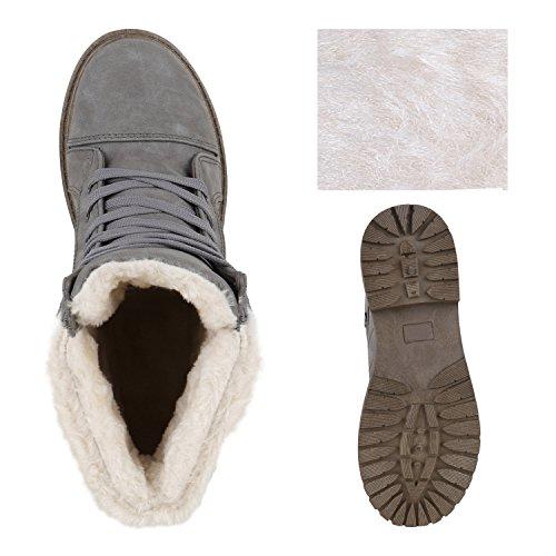 Damen Stiefeletten Outdoor Boots Warm Gefütterte Schnürstiefeletten Schnürschuhe Lack Zipper Profilsohle Winter Schuhe Flandell Grau