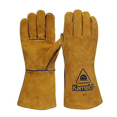 ▶10% OFF◀kameLo - Premium abrasion/flame retardant cowhide MIG Welding Gloves - suitable for BBQ grilling/fireplace/camping/work gloves (13-inch) by kameLo