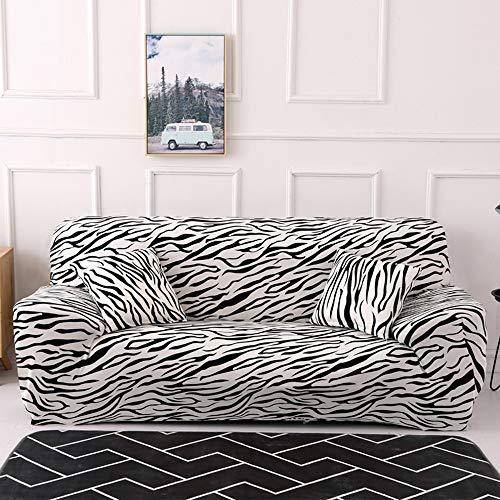 Jaoul All Cover Printing Elegant Zebra-Stripe High Stretch Sofa Slipcover Furniture Protector for 3 seat Cushion Couch with Two Pillow Cases, Leopard, Sofa-3 - Slipcover Zebra