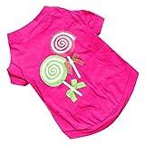 Sunward New Dog Pet Clothes Summer Pink Princess Lollipop Vest Sleeveless T-Shirts Apparel (M)