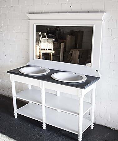 Waschtisch weiß-grau im Landhausstil, Badmöbel weiß, Breite 150 cm ...