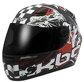 KBC VR1 X dragón Racer Fullface motocicleta moto casco, Racing, color negro, rojo