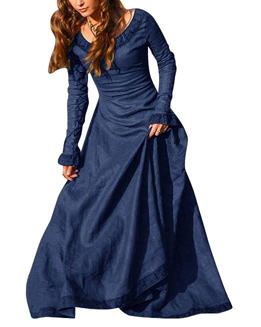 ShiFan Mujer Trajes Disfraz De Medieval Vestidos Goticos Disfraces para Fiestas Cosplay Azul S