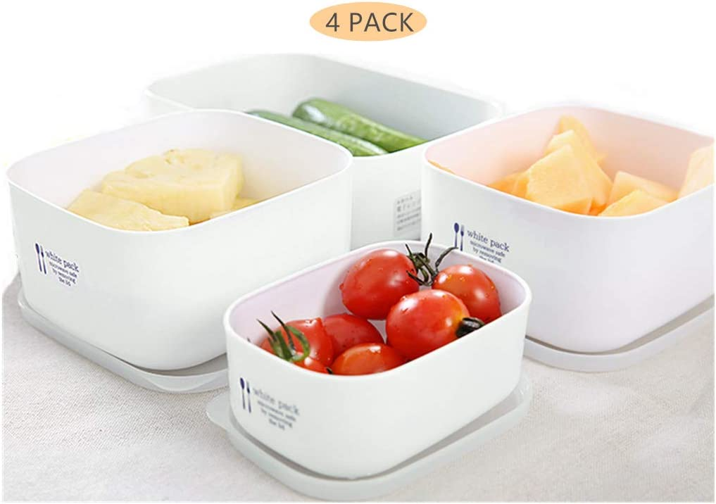 4 Pack Food storage containers with Lids Microwave Freezer Safe Portable White Bento Box Japanese Lunch Containers Meal Prep Containers Outdoor Picnic Travel Food Containers
