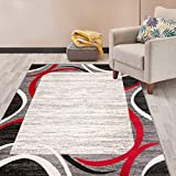 Rugshop Modern Geometric Border Area Rug 3′ 3″ x 5′ Red