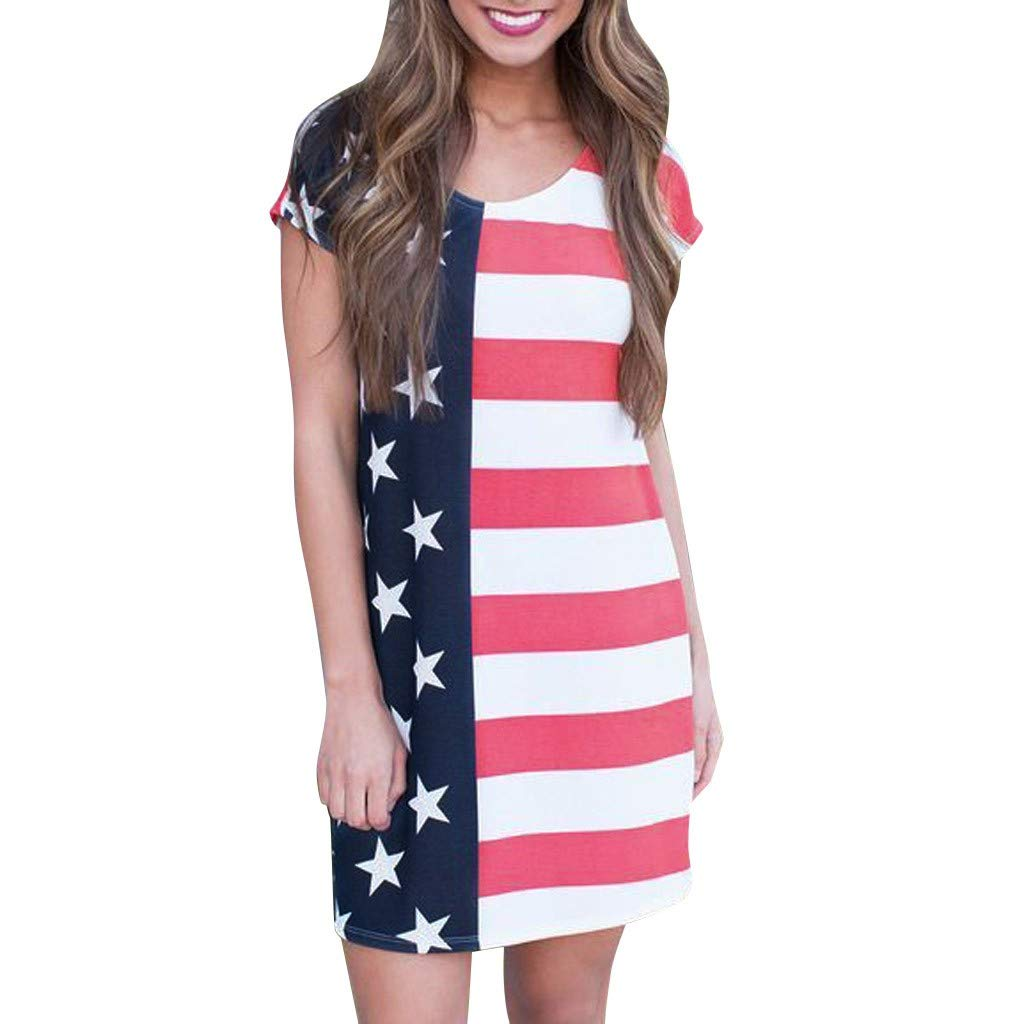 Women July 4th Dress American Flag Printed Short Sleeve Knee Length Dress Vintage O Neck Patriotic Dress for Women Casual Independance Day Dresses