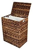 BirdRock Home Abaca Laundry Hamper | Hand Woven | Removable Canvas Laundry Bag