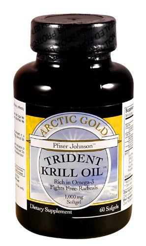Trident Huile de Krill, 1000 mg. par capsule, Omega 3 et Omega 6, 60 capsules de gélatine molle-