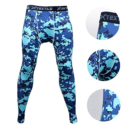 Xtextile Mens Camouflage Sports Compression Tight Leggings (Large, Blue Camouflage)