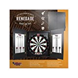 Shot! Darts Darts Renegade Dartboard & Cabinet Set-Dart Cabinet Set-Steel Tip Darts Board Cabinet Set-Black Laminate Finish