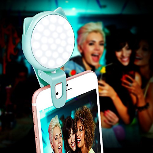 Clip On Selfie Light, OURRY Rechargeable Kitty Fill In Camera Ring Light Adjustable 32 LED 9 Light Effects 3 Brightness for iPhone X 8 7 6 6s Plus, Samsung Galaxy Note 8 S8 Plus S7 Edge & more