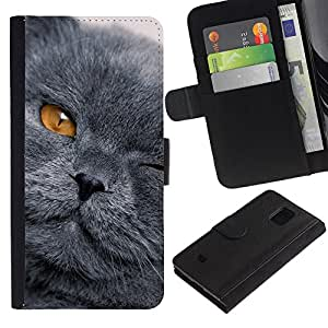 Planetar® Modelo colorido cuero carpeta tirón caso cubierta piel Holster Funda protección Para Samsung Galaxy S5 Mini (Not S5) (Not S5), SM-G800 ( Gris Shorthair gato Scottish Fold Ojo Amarillo )