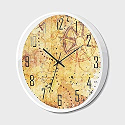 Wall Clock Silent Non-Ticking Decorative Round Quartz,Island Map,Antique Treasure Map Grunge Rusty Style Parchment Print History Theme Boho Design,for Office,Bedroom,14inch