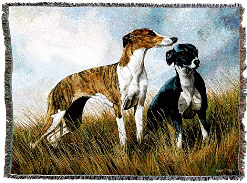 Greyhound Tapestry - Pure Country Weavers - Greyhounds Woven Tapestry Throw Blanket with Fringe Cotton USA Size 72 x 54