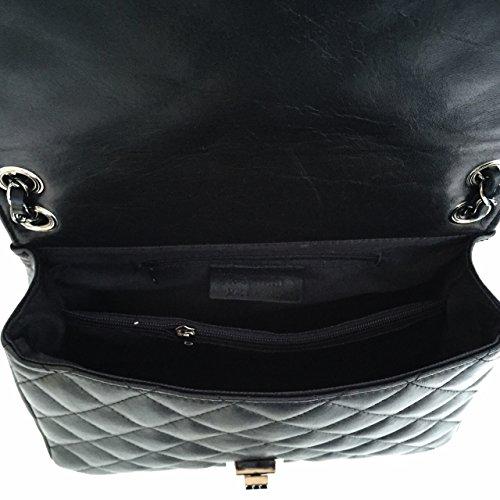 Donna Made modello Borsa Loira trapuntata Superflybags Nero vera in in Italy pelle OqWfan