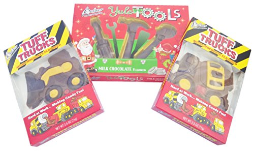 Tough Guy's Christmas Stocking Stuffer Bundle - Includes 3 Items: Palmer Milk Chocolate Flavored Yule Tools Set, Cement Truck and Bulldozer.