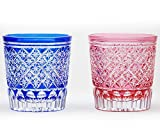 Japanese Paired Rocks Glass of Edo-Kiriko (Cut Glass) Star Pattern