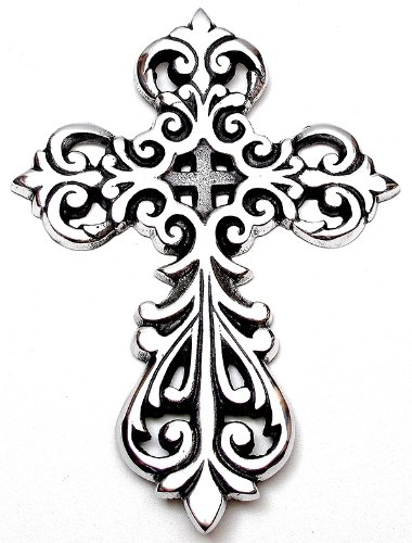 Set of TWO Silver Filigree Cross Anointing Oil Vial Holder Keychains with Velvet Pouches