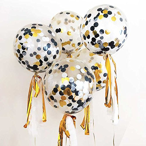 FindFun 18 Inch Confetti Balloon Kit with Metallic Confetti in Black & Gold For Halloween Decoration(Pack of 6)