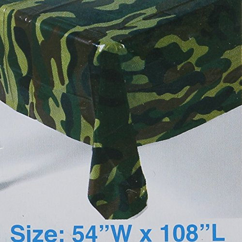Fun Express Camouflage Plastic Tablecover Camo Tablecloth - 54