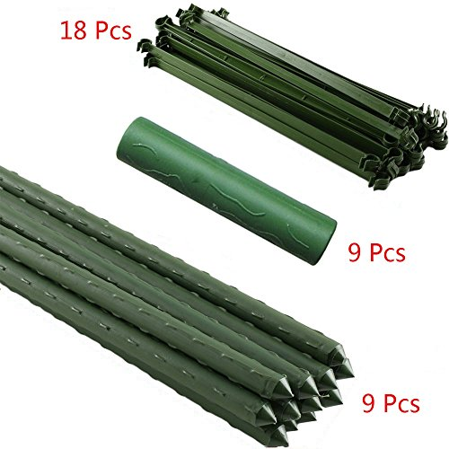 F.O.T 3-Sets Tomato Cage Plant Support Garden Stakes 2ft Long Steel with Plastic Coated Plant Sticks, Sturdy Garden Plant Support Stakes with Connecting Rod (3) by F.O.T (Image #4)