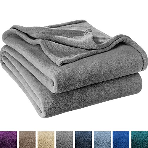 Microfleece Throw (Ultra Soft Microplush Velvet Blanket - Luxurious Fuzzy Fleece Fur - All Season Premium Throw Blanket (Throw / Travel, Grey))