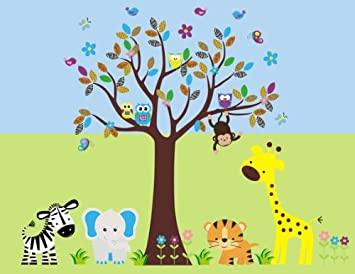Nursery Wall Decals Girls Nursery Wall Decals Better than Vinyl Wall Decals Safari Wall Stickers 82 x 105 Removable and Reusable