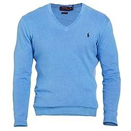 Polo Ralph Lauren Men\'s Pima V-Neck Sweater, XL, Atlantis Blue