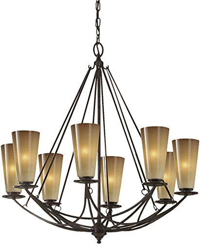 - Feiss F2606/8MBZ Eight Light Chandelier, 8, Mocha Bronze