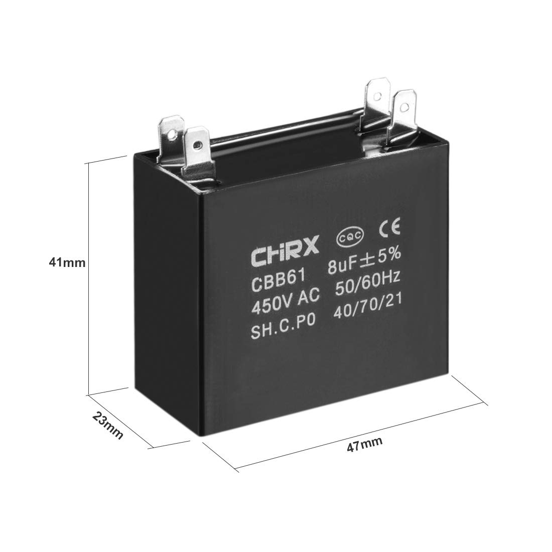 sourcing map CBB61 Run Capacitor 450V AC 6uF Doule Insert Metallized Polypropylene Film Capacitors for Ceiling Fan