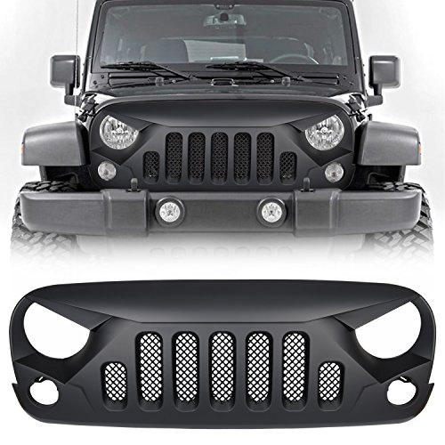 Front Matte Black Gladiator Grille Grid Grill with Mesh Insert For Jeep Wrangler JK JKU Rubicon Sahara Sport X Unlimited 2007-2018