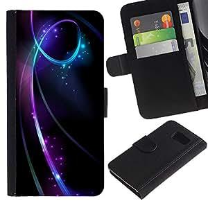 For Samsung Galaxy S6 SM-G920,S-type® Black Lines Swirling Glitter Stars - Dibujo PU billetera de cuero Funda Case Caso de la piel de la bolsa protectora