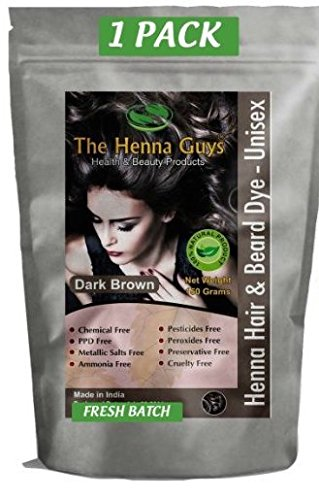 1 Pack of Dark Brown Henna Hair Color / Dye - 150 Grams - Chemicals Free Hair Color - The Henna Guys