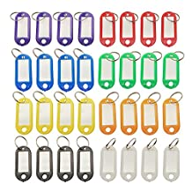 LJY 32 Pieces Multi-colors Plastic Key Fob ID Tags Luggage ID Labels with Split Ring Keyring