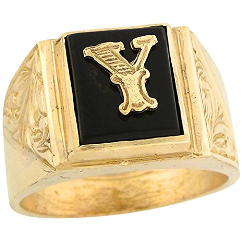 14k Real Gold 12x10mm Rectangle Onyx Letter Y Fancy Mens Initial Ring -