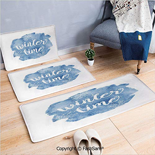 3 Piece Flannel Bath Carpet Non Slip Winter Time Typographic Design Hand Drawn Style Phrase Blue Watercolor Spot Decorative Front Door Mats Rugs for Home(W15.7xL23.6 by W19.6xL31.5 by ()