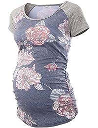 Women's Baseball Crew Neck Raglan Sleeve Side Ruched Maternity T Shirts Top Pregnancy Shirt