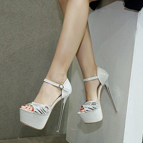sandalias de Zapatos UE zapatos europeas RUGAI de mujer y black y sandalias americanas impermeables alto tablas tacón 4qFwxZUx