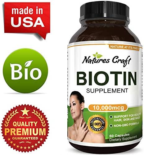 Pure Potent Biotin Vitamins – Promotes Hair Growth Prevents Hair Loss - Introduces Better Skin Hair Nails - Natural Supplement for Men and Women- Helps Promote Faster Metabolism (Biotin v1)