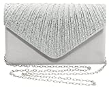 Bienvenu Women Ladies Large Evening Satin Bridal Diamante Ladies Clutch Bag Party Prom,Silver_style 2