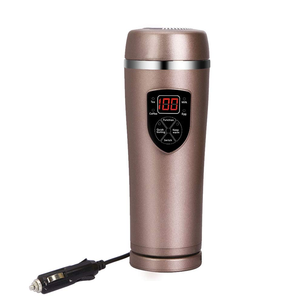 Temperature Control Travel Coffee Mug Car Heated coffee mug Cup with LED Display, Coffee Beverage Warmer and Water Boiler,12V High Middle Low Adjustable (Brown)