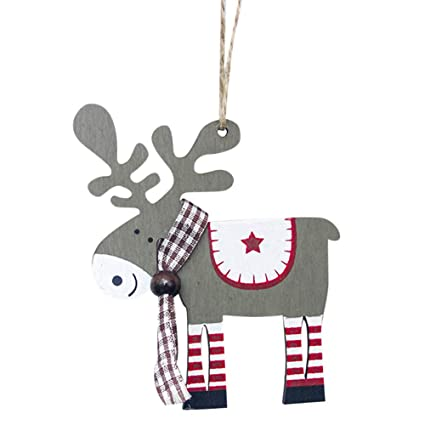 7088e75a4ec Amazon.com: Boomboom Christmas Decoration, Cute Wood Elk Pendant ...