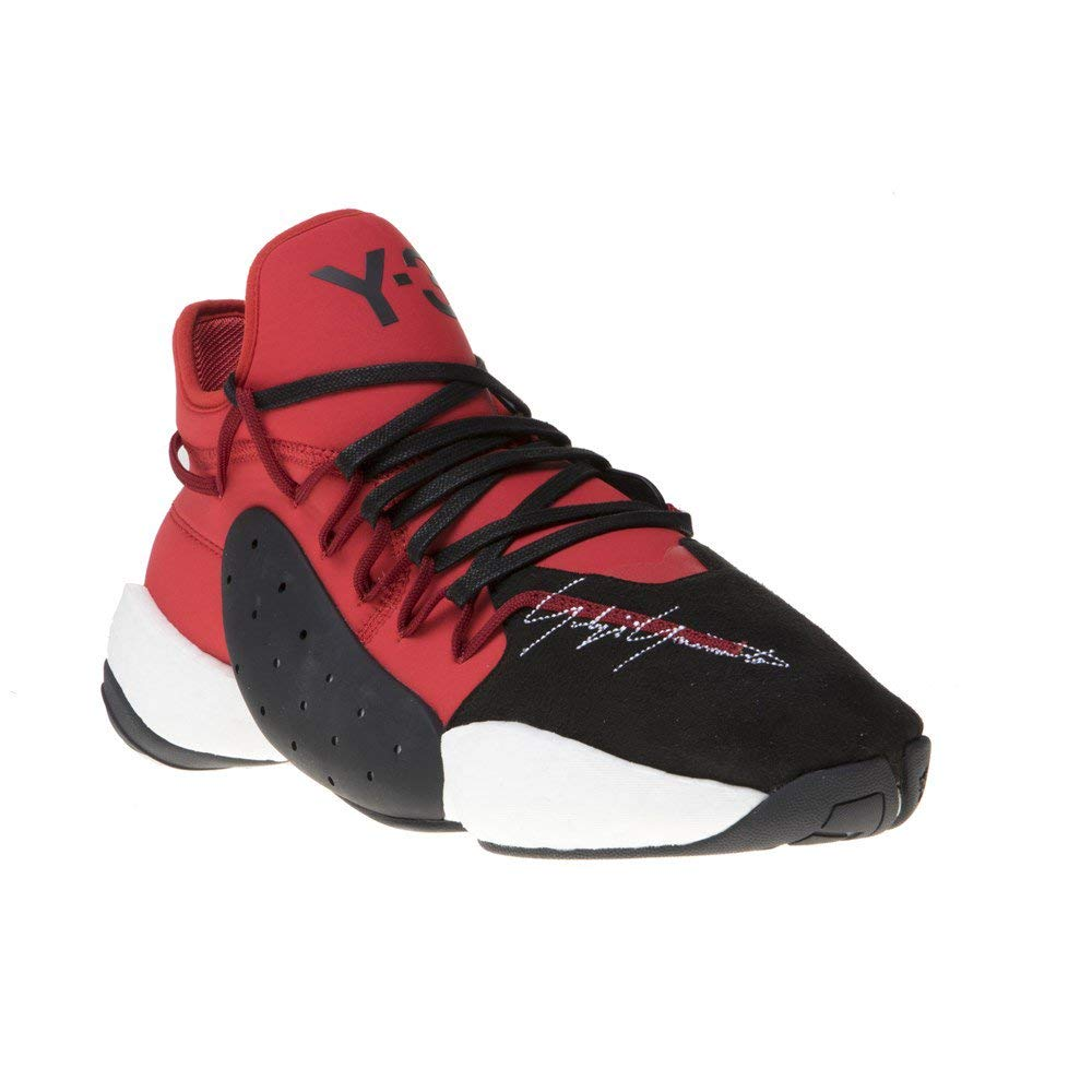 Multicolour Y-3 Man's Byw Bball Red Neoprene and Black Suede Sneaker