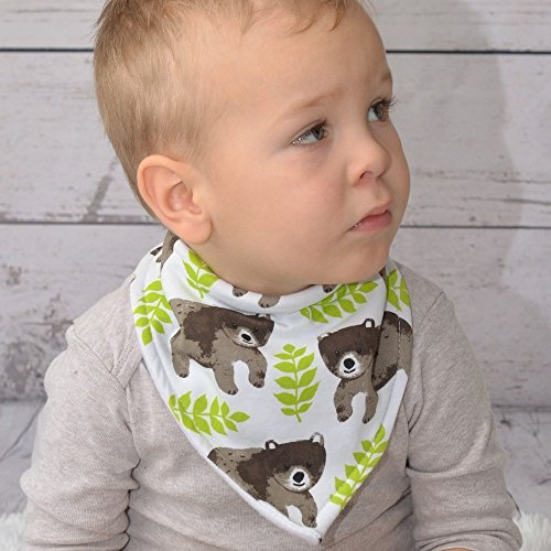 Stadela Baby Adjustable Bandana Drool Bibs for Drooling and Teething Nursery Burp Cloths 4 Pack Unisex Baby Shower Gift Set for Girl and Boy – Enchanted Forest Woodland Animal Fox Bear Deer Raccoon by Stadela (Image #4)