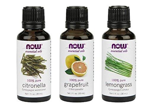 3Pack Variety of NOW Essential Oils: Mosquito Repellent Blend  Citronella Lemongrass Grapefruit