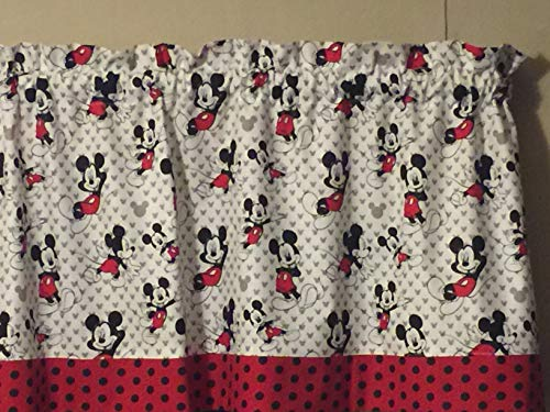 Mickey Mouse Red Black White Polka Dot Bedroom Window Treatment Topper Valance Decor (Mickey Valance Mouse)