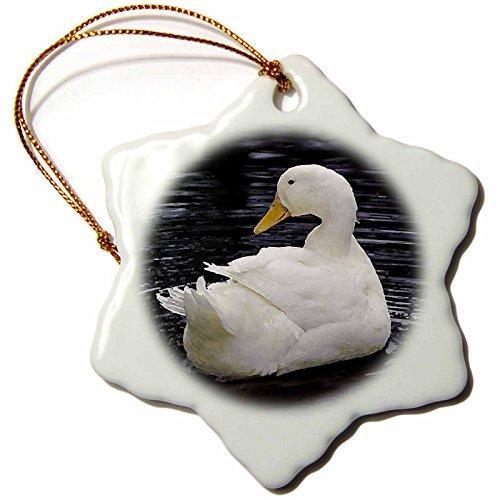 [3drose White Pekin Duck Snowflake Porcelain Ornament, 3-Inch] (White Pekin Duck)
