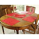 Set of 4 Coated French Placemats - Rouge Red