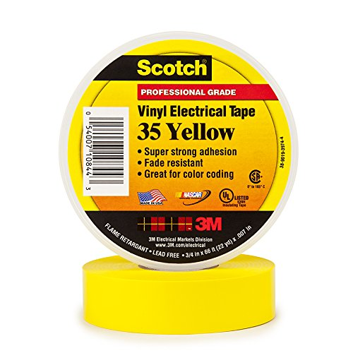 3M 10844-BA-10 Scotch #35 Electrical Tape, 3/4-Inch by 66-Foot by 0.007-Inch, yellow